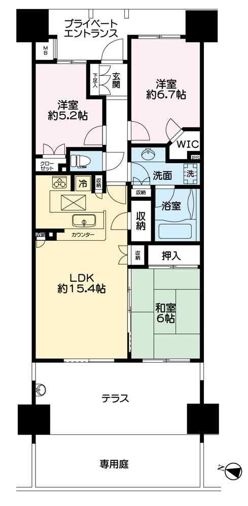 図面 コンフォート113号室カラー