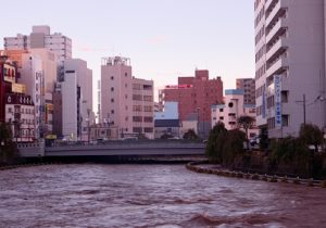 2019年10月台風19号による田川の増水