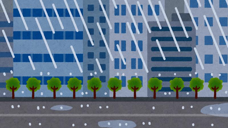 雨降りオフィスビル