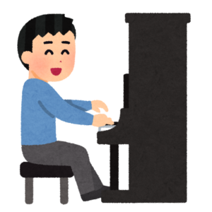 男性とアップライトピアノ